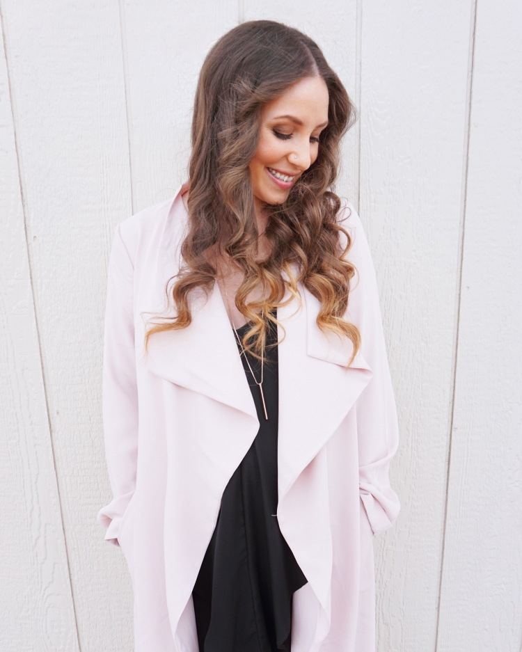 Pink Satin Trench Coat from Express